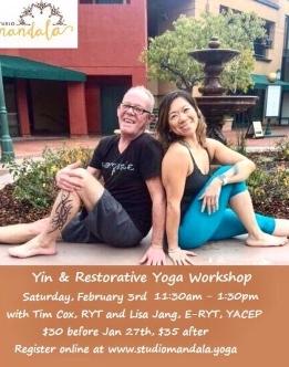 Yin & Restorative, Tim Cox & Lisa Jang 2018 Studio Mandala